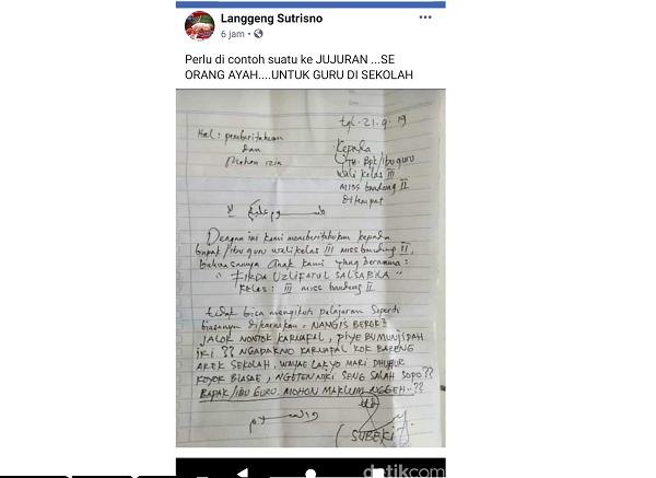 Viral Ortu Tulis Surat Izin Untuk Anaknya Yang Menangis Minta Nonton Karnaval Timlo Net